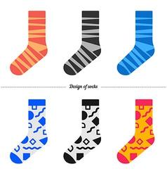 Set of socks with original hipster design vector