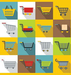 Shopping cart icons set flat style vector