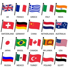 simple color curved flags of different country vector image vector image