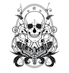 skull and butterfly vector image vector image