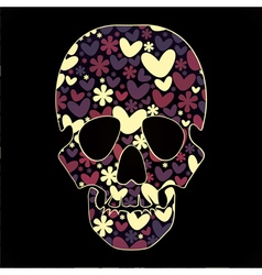 skull with hearts vector image
