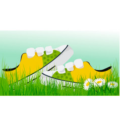 Spring sunny sneakers vector