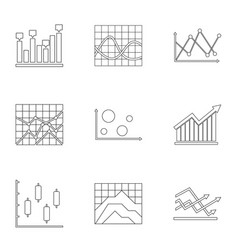 Stand icons set outline style vector