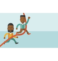 Two african guy running to finish line vector image
