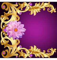 Vintage background with flower gold pattern vector