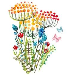 Watercolor natural card vector image