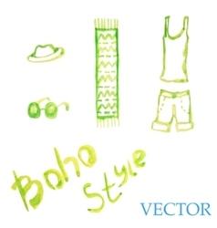 Watercolor summer set womens t-shirt shorts vector