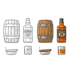 Whiskey glass with ice cubes barrel bottle and vector