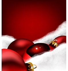 Xmas greeting card Christmas toy on Cotton wool vector image