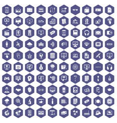 100 website icons hexagon purple vector