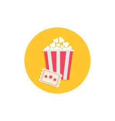 Popcorn box and ticket cinema movie round icon in vector