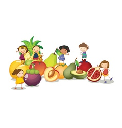 Kids Fruits Background vector image