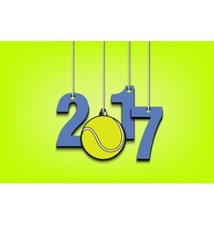 Tennis ball and 2017 hanging on strings vector