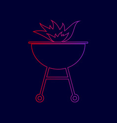 Barbecue with fire sign  line icon with vector