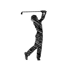 silhouette drawing golfer man player icon vector image