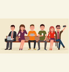 Group of people on bench with mobile devices vector