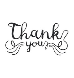 Thank you handwritten inscription isolated on vector