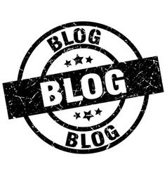 Blog round grunge black stamp vector