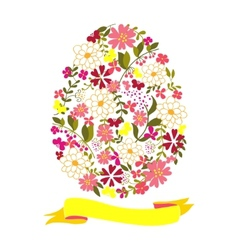 Easter egg from flowers with a tape vector