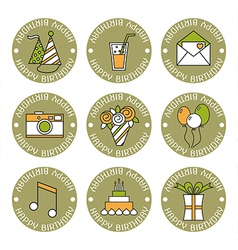 Holiday flat icons happy birthday vector