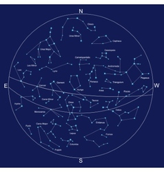 Sky map and constellations with titles vector
