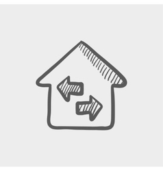 House with left and right arrow sketch icon vector