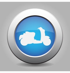 Blue metal button with scooter vector