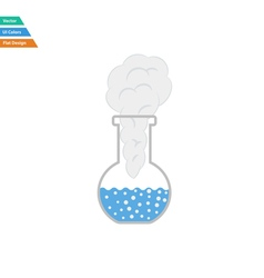 Flat design icon of chemistry bulb with reaction vector