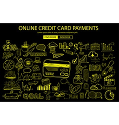 Online credit card payment concept with Doodle vector image