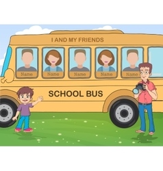 Yearbook with boy  photographer and school bus vector