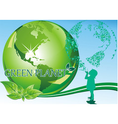 Background - a girl and a green planet vector