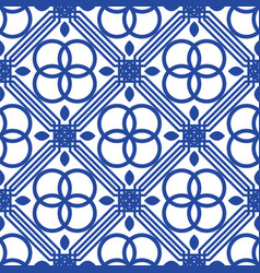 Blue and white mediterranean seamless tile pattern vector