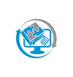 book computer calculator accountant center vector image