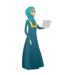 Business woman using laptop vector
