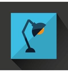Cartoon lapm bulb desk red background vector