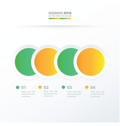 Circle overlap infographic green yellow color vector