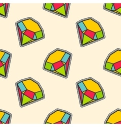 Colorful diamonds patch seamless pattern vector image