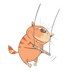 cute cat acrobat cartoon character vector image