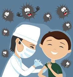 Doctor makes vaccination vector image vector image