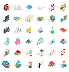 Education icons set isometric style vector