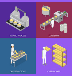 Factory cheese production line elements and staff vector