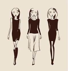 fashion woman hand drawn vector image vector image