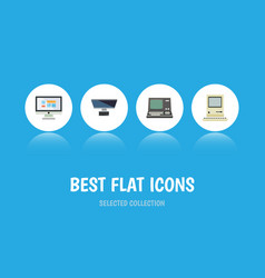 Flat icon computer set of pc technology vector
