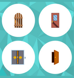 flat icon door set of lobby entry door and other vector image vector image