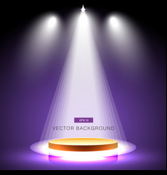 gold stage with spotlight purple background vector image vector image