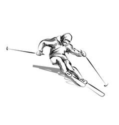 Line sketch skier vector