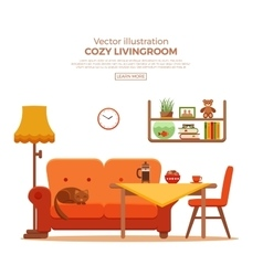 Living room cozy colorful cartoon interior vector image