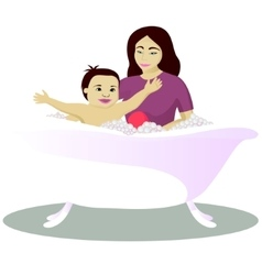 Mother washes smiling child isolated on white vector image vector image