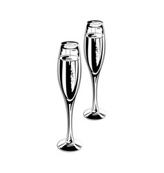 Pair of champagne glasses vector