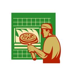 Pizza pie maker or baker holding baking pan oven vector